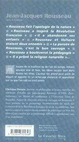 Jean-Jacques Rousseau - 4ème de couverture - Format classique