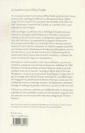 La lumière noire d'elsa triolet - 4ème de couverture - Format classique
