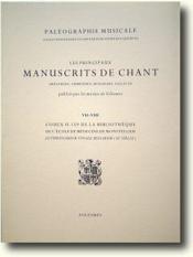 Les principaux manuscrits de chant ; codex 159 de la bibliothèque de l'école de médecine de Montpellier - Couverture - Format classique