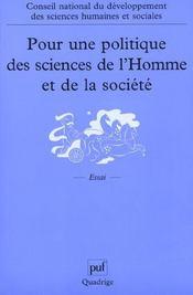 Pour une politique des sciences de l'homme et de la societe - recueil des travaux du conseil nationa - Intérieur - Format classique