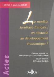 Le modele juridique francais : un obstacle au developpement economique ? - Intérieur - Format classique