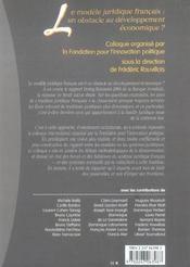 Le modele juridique francais : un obstacle au developpement economique ? - 4ème de couverture - Format classique
