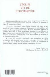 Eglise vit de l eucharistie - 4ème de couverture - Format classique