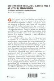 Les charge(e) s de relation clientele face a la lettre de reclamation - 4ème de couverture - Format classique