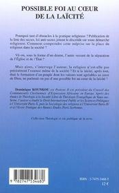 Possible Foi Au Coeur De La Laicite - 4ème de couverture - Format classique