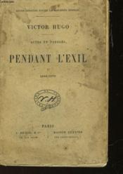 Actes Et Paroles - Pendant L'Exil - Ii 1862-1870 - Couverture - Format classique