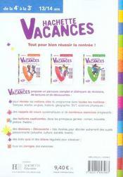 Hachette Vacances ; De La 4ème A La 3ème - 4ème de couverture - Format classique