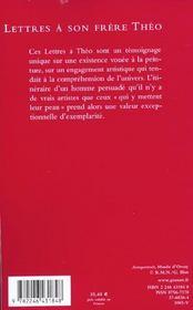 Lettres à son frère Théo - 4ème de couverture - Format classique