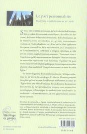 Le pari personnaliste ; modernité et catholicisme au xx siècle - 4ème de couverture - Format classique