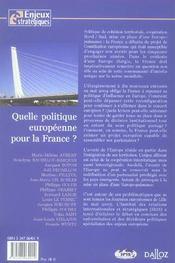 Quelle politique européenne pour la France ? - 4ème de couverture - Format classique