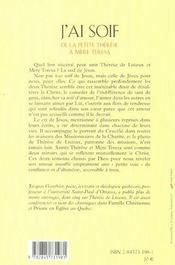 J'ai soif ; de la petite Thérèse à Mère Thérésa - 4ème de couverture - Format classique