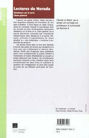 Lectures de neruda - 4ème de couverture - Format classique