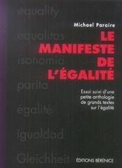 Le Manifeste De L'Egalite Suivi D'Une Anthologie De Textes Sur L'Egalite - Intérieur - Format classique