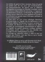 Le Manifeste De L'Egalite Suivi D'Une Anthologie De Textes Sur L'Egalite - 4ème de couverture - Format classique
