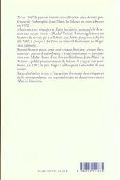 OEUVRES COMPLETES T.2 ; oeuvres littéraires t.2 ; le ramasseur d'ombres - 4ème de couverture - Format classique