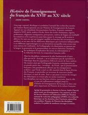 Histoire de l'enseignement du francais du XVII au XX siècle - 4ème de couverture - Format classique