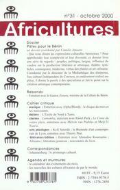 Revue Africultures T.31 ; Piste Pour Le Bénin - 4ème de couverture - Format classique