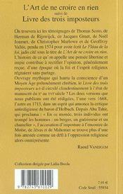 L'Art De Ne Croire En Rien - Rp N 392 - 4ème de couverture - Format classique