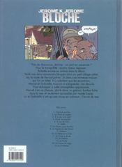 Jérôme K. Jérôme Bloche T.12 ; le gabion - 4ème de couverture - Format classique
