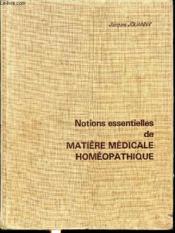 Notions essentielles de matière médicale homeopathique - Couverture - Format classique