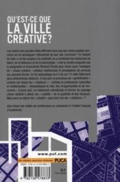 Qu'est-ce que la ville créative ? - 4ème de couverture - Format classique