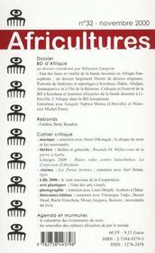 Revue Africultures T.32 ; Bd D'Afrique - 4ème de couverture - Format classique