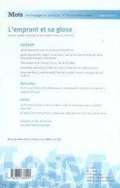 Mots T.82 ; L'Emprunt Et Sa Glose - 4ème de couverture - Format classique