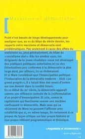 Marxisme Et Democratie - 4ème de couverture - Format classique