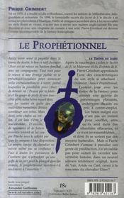 Le prophétionnel, le trône du dahu - 4ème de couverture - Format classique