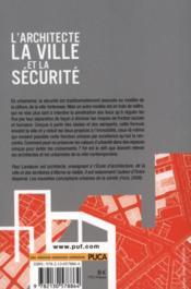 L'architecte ; la ville et la sécurité - 4ème de couverture - Format classique