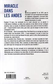 Miracle dans les andes - 4ème de couverture - Format classique