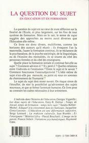 Question Du Sujet En Education Et En Formation - 4ème de couverture - Format classique