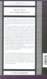 Alexandre Sokourov - 4ème de couverture - Format classique