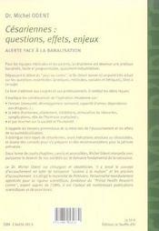 Cesariennes questions effets enjeux - 4ème de couverture - Format classique