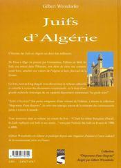 Juifs d'algerie - 4ème de couverture - Format classique