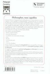Philosopher, Tous Capables - 4ème de couverture - Format classique