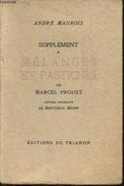 Supplement A Melanges Et Pastiches De Marcel Proust - Couverture - Format classique