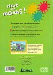 Place Aux Maths Ce1 Cycle 2 - 4ème de couverture - Format classique