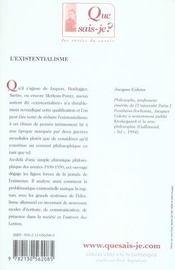 L'existentialisme (4e édition) - 4ème de couverture - Format classique