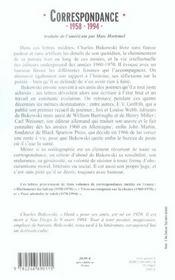 Correspondance ; 1958-1994 - 4ème de couverture - Format classique