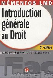 Introduction générale au droit t.3 - Intérieur - Format classique
