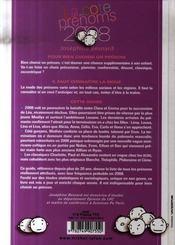La Cote Des Prenoms En 2008 ; Connaitre La Mode Pour Bien Choisir Un Prenom - 4ème de couverture - Format classique