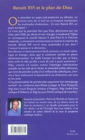 Benoit xvi et le plan de dieu - 4ème de couverture - Format classique
