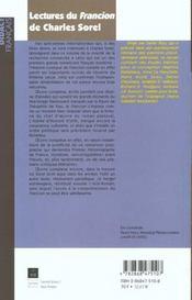 Lectures du francion de charles sorel - 4ème de couverture - Format classique