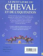Le Petit Livre Du Cheval Et De L'Equitation - 4ème de couverture - Format classique