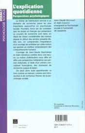 L'explication quotidienne ; perspectives psychologiques - 4ème de couverture - Format classique