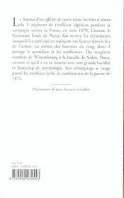 Journal D'Un Officier De Turcos 1870 - 4ème de couverture - Format classique