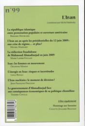 Cahiers De L'Orient N.99 ; L'Iran Ou La Révoluyion Permanente - 4ème de couverture - Format classique