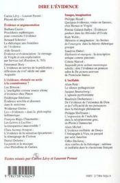 Dire L'Evidence ; Philosophie Et Rhetorique Antiques - 4ème de couverture - Format classique