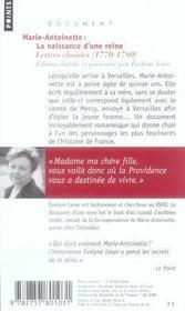 Marie-antoinette : la naissance d'une reine - 4ème de couverture - Format classique
